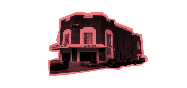 Front of old fashioned cinema